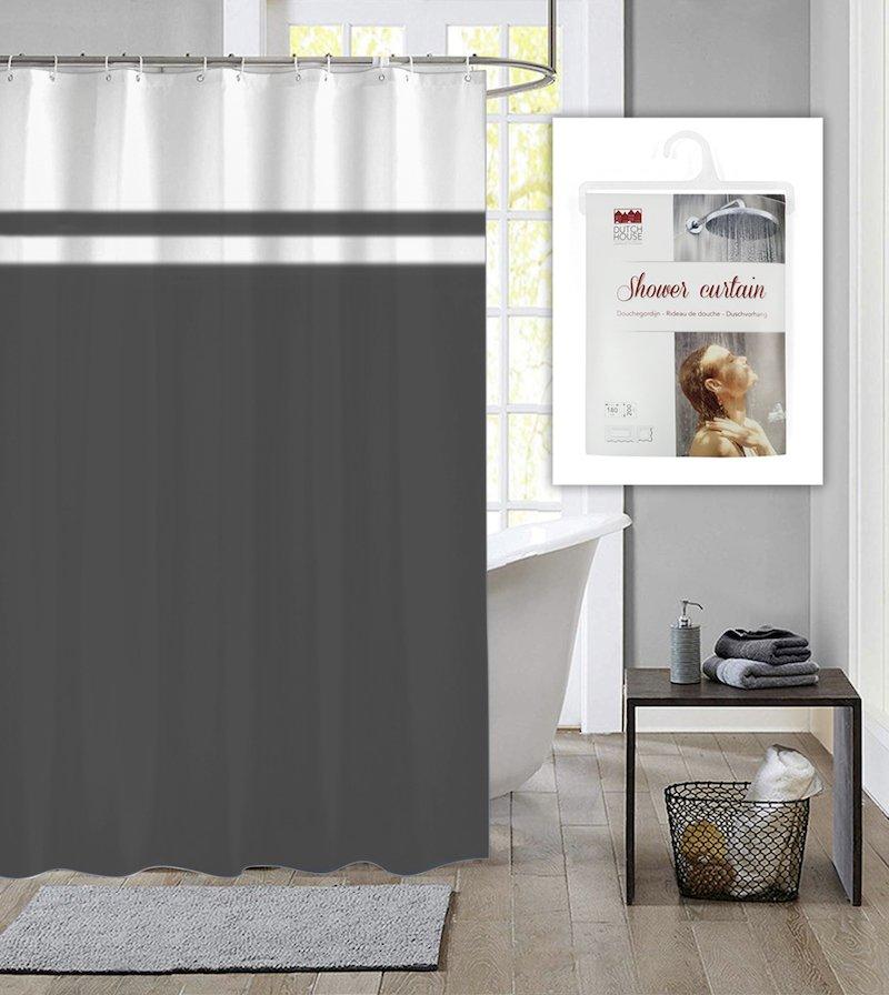 Dutch House douchegordijn met ringen Simply antraciet 180x200cm