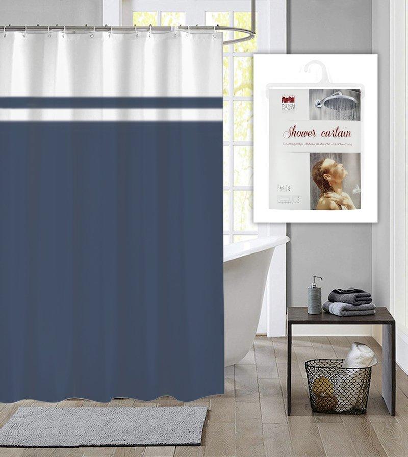 Dutch House douchegordijn met ringen Simply blauw 180x200cm