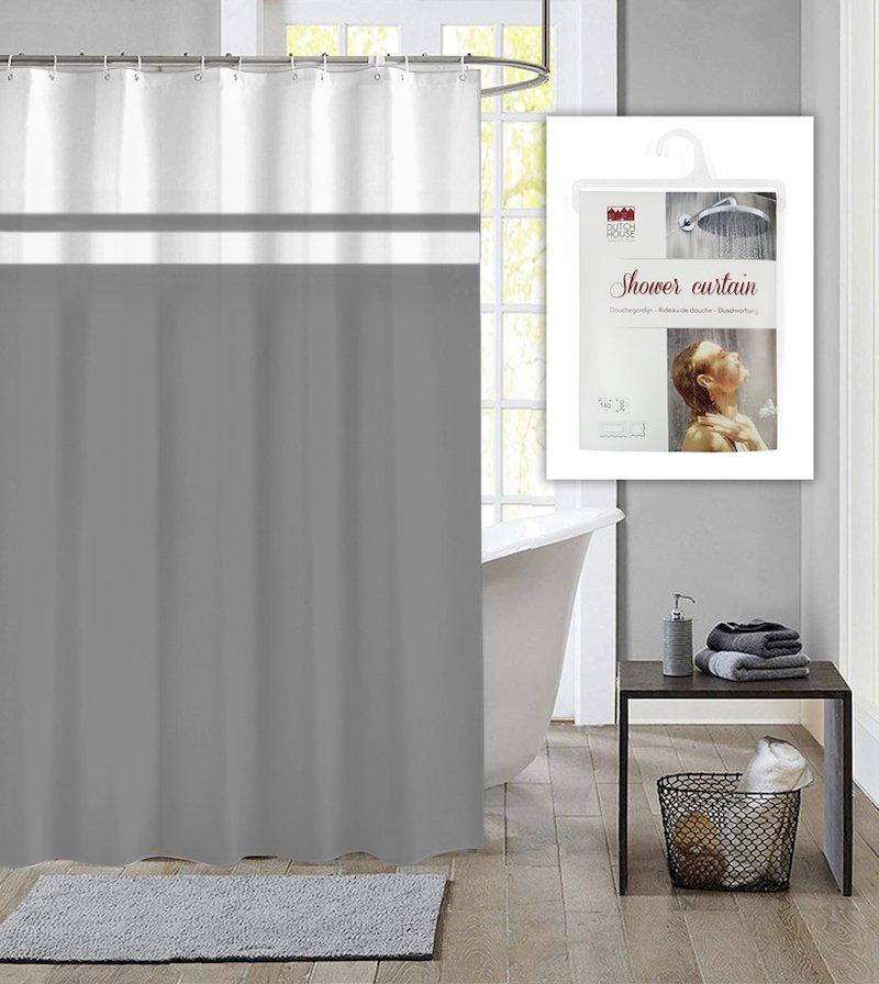 Dutch House douchegordijn met ringen Simply grijs 180x200cm