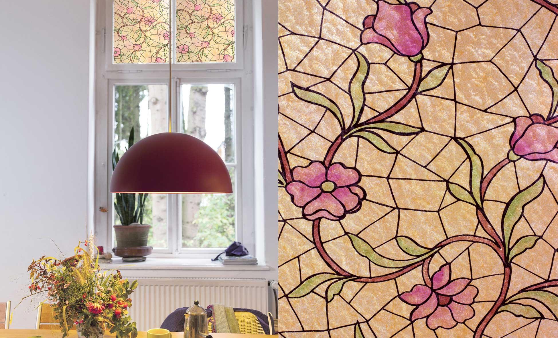 Raamfolie Flowers Pink - 45cm x 15m