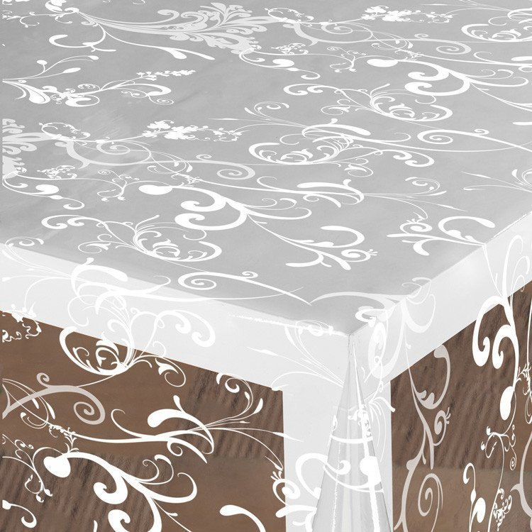 Doorzichtig tafelzeil barok ornamenten wit