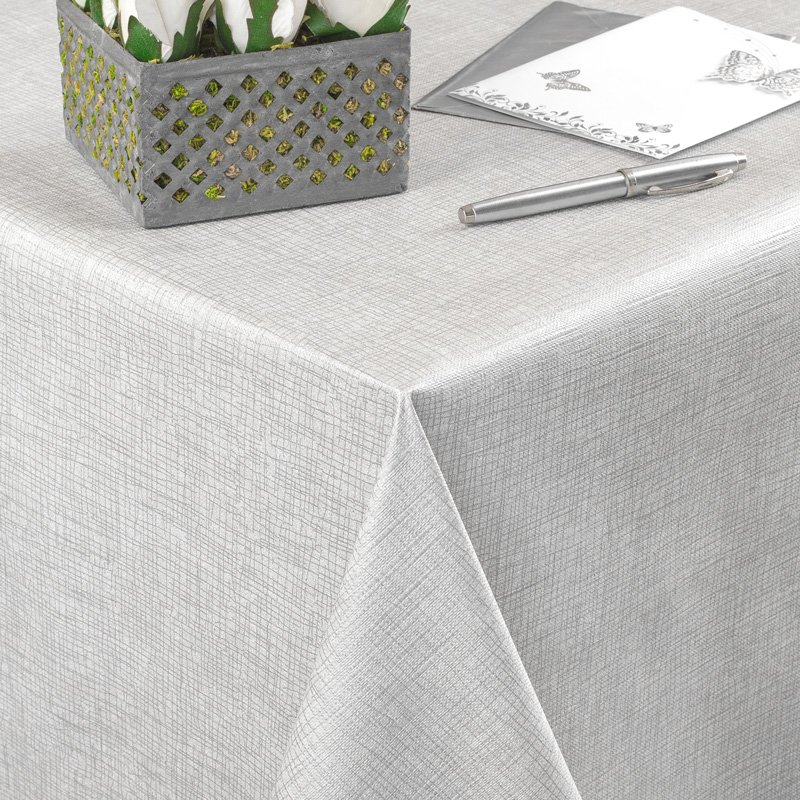 Tafelzeil Textiellook Zilvergrijs