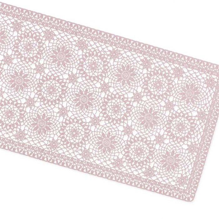 Tafelloper Amira vinyl 40x150cm oud roze