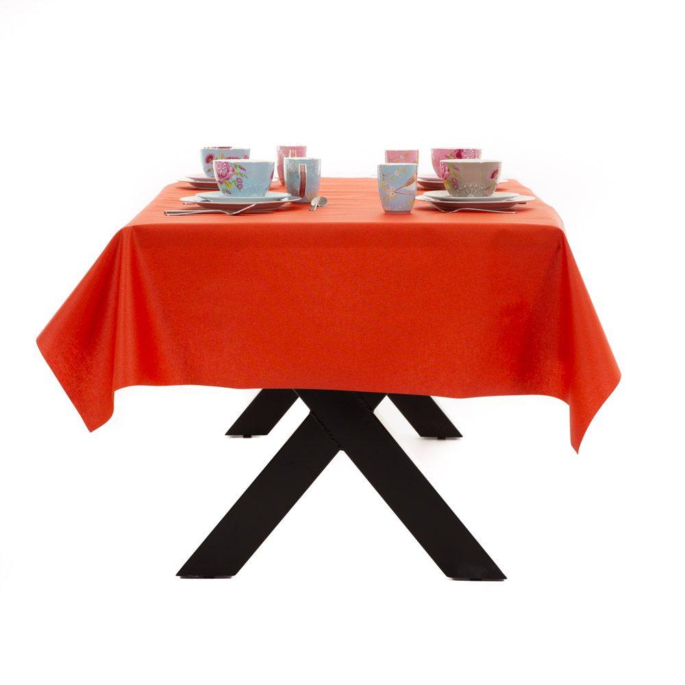 Gecoat tafellinnen Lino Oranje/Rood 180cm