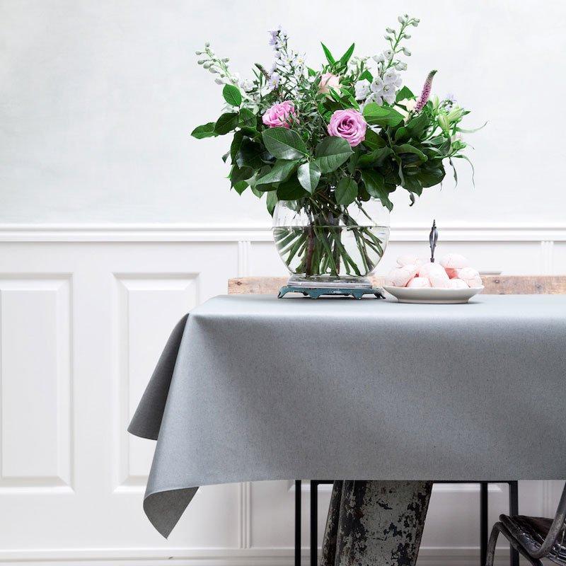 Gecoat tafellinnen Lino Gris - 180cm